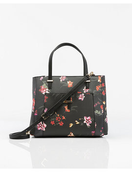 Floral Print Saffiano Leather Like Satchel by Le Chateau