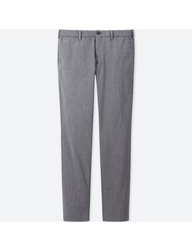 Men Slim Fit Chino Flat Front Pants (Heather) by Uniqlo