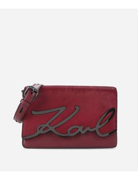 K/Signature Luxe Leather Shoulder Bag by Karl Legerfeld