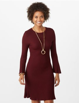 Fit And Flare Bell Sleeve Sweater Dress by Dressbarn