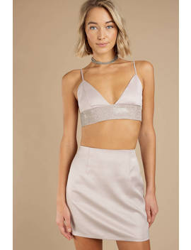 Liberated Champagne Diamante Crop Top by Tobi