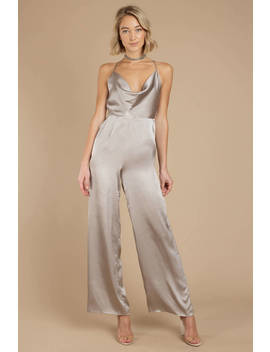 Fall Back Pewter Satin Jumpsuit by Tobi