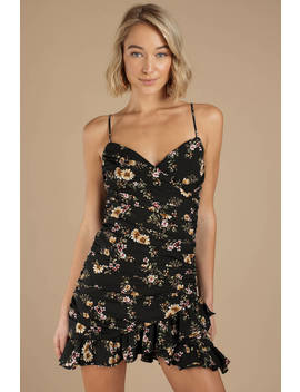 Catch The Bouquet Black Floral Ruched Dress by Tobi