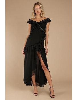 Ivy Black Chiffon Off Shoulder Maxi Dress by Tobi