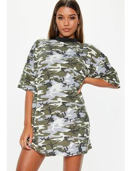 Green Camo Oversized T Shirt Dress by Missguided