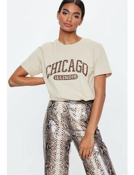 Sand Leopard Print Chicago Graphic T Shirt by Missguided