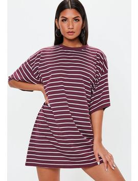 Burgundy Oversized Short Sleeve Stripe T Shirt Dress by Missguided