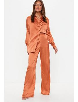 Terracotta Long Sleeve Button Front Satin Shirt by Missguided