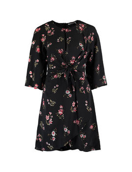 Black Floral Bow Front Dress by Sweewe