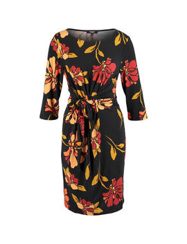 Black & Orange Floral Tie Dress by Premise Studio