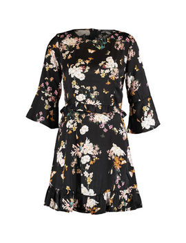 Black Floral Long Sleeve Mini Dress by Luc Ce