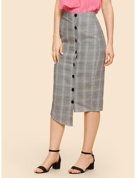 Button Front Asymmetrical Plaid Skirt by Shein