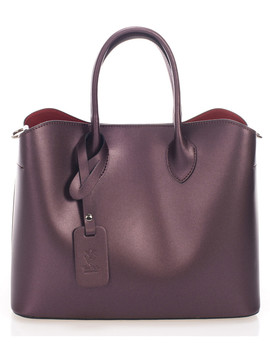 Plum Leather Boxy Grab Bag by Zoe & Noe                                      Sold Out