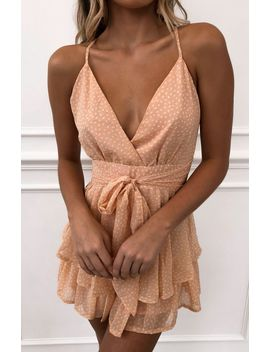 Walk Me Home Playsuit Peach Speckle by White Fox
