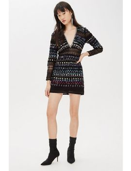 Petite Embroidered Lace Chain Mini Dress by Topshop