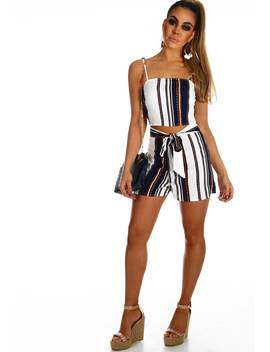 I'm Yours White And Navy Stripe Co Ord by Pink Boutique