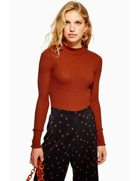 Cable Knit Funnel Neck Jumper by Topshop