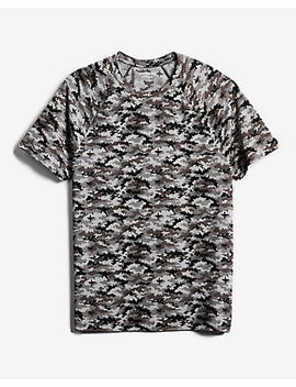 Camo Print Moisture Wicking Performance Raglan Tee by Express