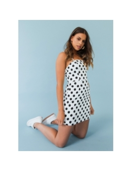 Skylar Dress   White Polka Dot by Peppermayo