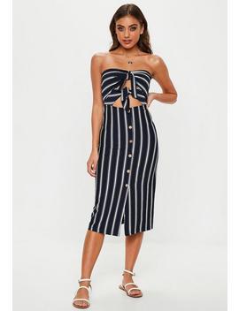 Navy Stripe Tie Front Stripe Midi Dress by Missguided