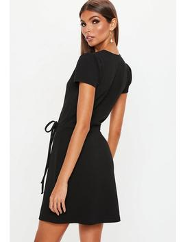Black Short Sleeve Tie Waist Skater Dress by Missguided
