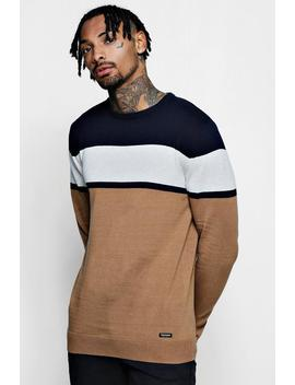 Colour Block Cotton Jumper by Boohoo
