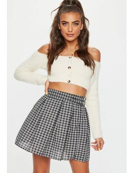 Black Checked Buckle Side Mini Skirt by Missguided