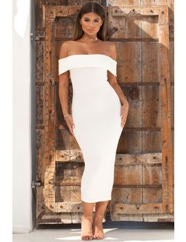 Strip Tease Ribbed Bardot Midaxi Dress In White by Oh Polly