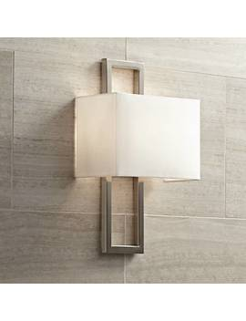 "Possini Euro Brushed Steel 15 1/2""H Rectangular Wall Sconce by Lamps Plus"