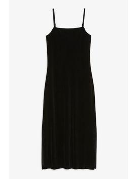Velvet Side Slit Dress by Monki