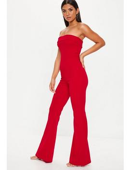 Red Bandeau Fold Jumpsuit by Missguided