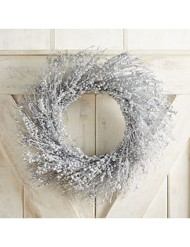 "22"" Silver Glittered Berry Wreath by Pier1 Imports"