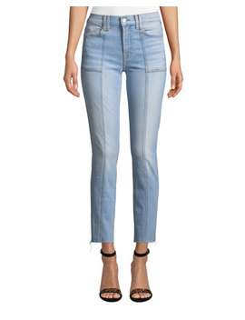 Roxanne Straight Leg Seam Patch Pocket Ankle Jeans by 7 For All Mankind