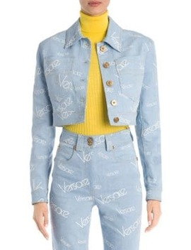 Cropped Logo Denim Jacket by Versace