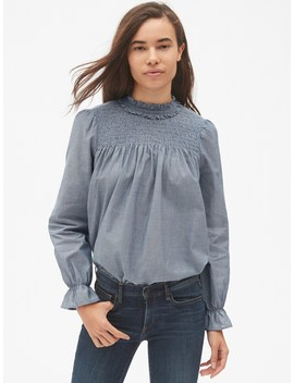 Smocked Long Sleeve Ruffle Blouse by Gap