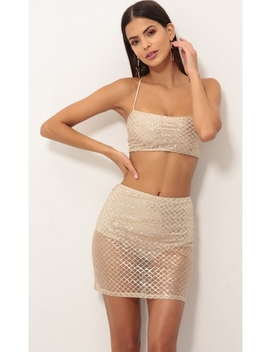 Coco Two Piece Set In Gold Shimmer by Lucy In The Sky