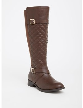 Brown Quilted Faux Leather Knee Boot (Wide Width) by Torrid