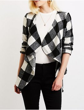 Plaid Draped Coat by Charlotte Russe