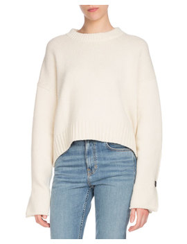 Crewneck Folded Button Cuffs Wool Cashmere Sweater by Proenza Schouler