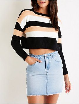 Striped Crop Sweater by Charlotte Russe