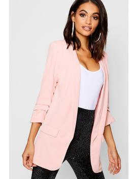 Tailored Ruched Sleeve Pocket Blazer by Boohoo