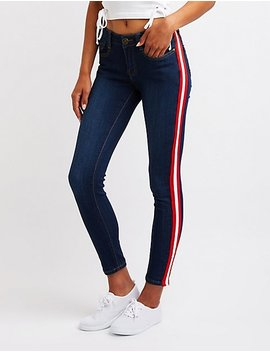 Machine Jeans Striped Skinny Jeans by Charlotte Russe