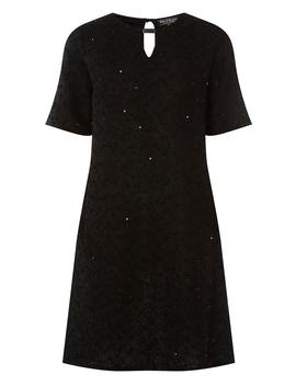 **Billie &Amp; Blossom Black Sparkle Trim Shift Dress by Dorothy Perkins