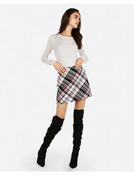 Large Plaid Clean A Line Mini Skirt by Express