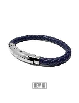 Woven Adjustable Single   Silver & Navy by Rose Gold & Black