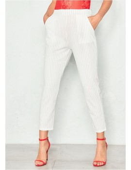 Claudia White Pinstripe Tapered Trousers by Missy Empire