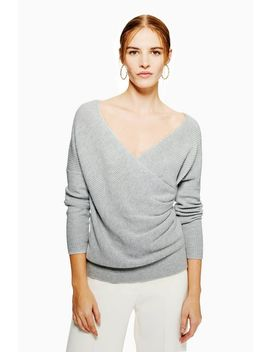 Pleat Wrap Jumper With Cashmere by Topshop