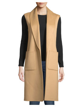 Luxury Double Faced Shawl Collar Cashmere Vest by Neiman Marcus Cashmere Collection