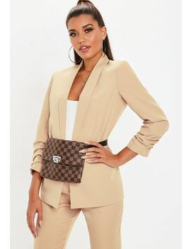 Nude Ruched Sleeve Blazer by Missguided