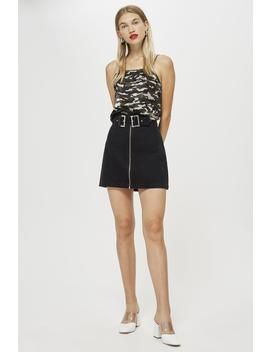 Petite Double Buckle Denim Skirt by Topshop